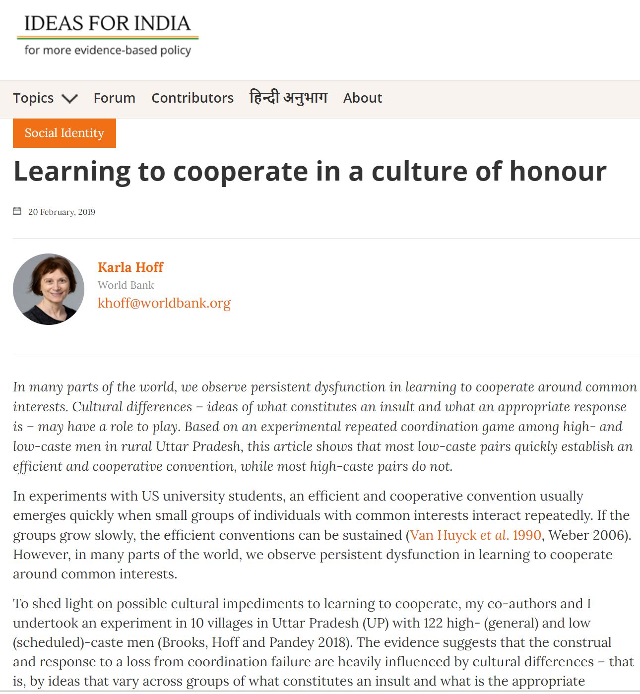 Learning to Cooperate in a Culture of Honour